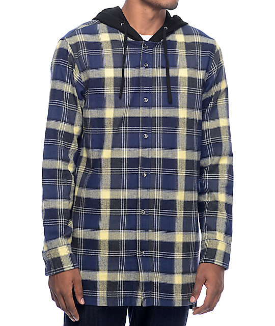 Fairplay Thom Navy u0026 Light Yellow Hooded Flannel Shirt at Zumiez  PDP