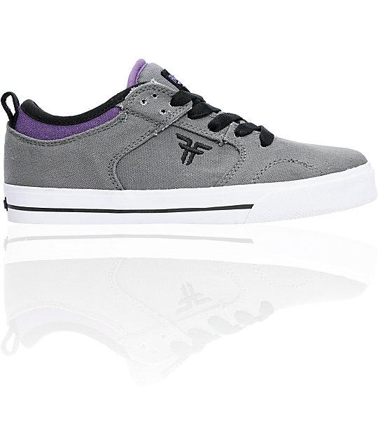 Fallen Boys Clipper Dark Grey & Purple Skate Shoes