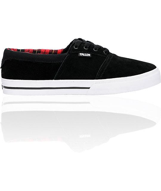 Fallen Shoes Coronado Black & Red Flannel Skate Shoes