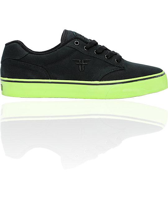 Fallen Shoes Slash Black Canvas & Lime Skate Shoes