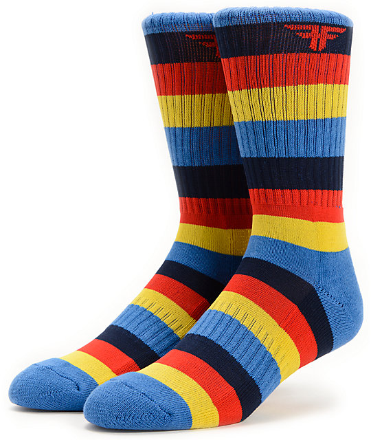Fallen Stripe Blue Crew Socks