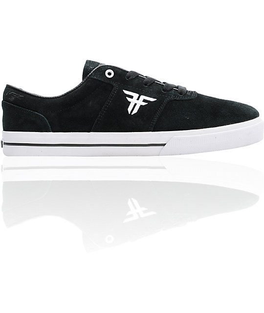Fallen Victory Black & White Suede Skate Shoes