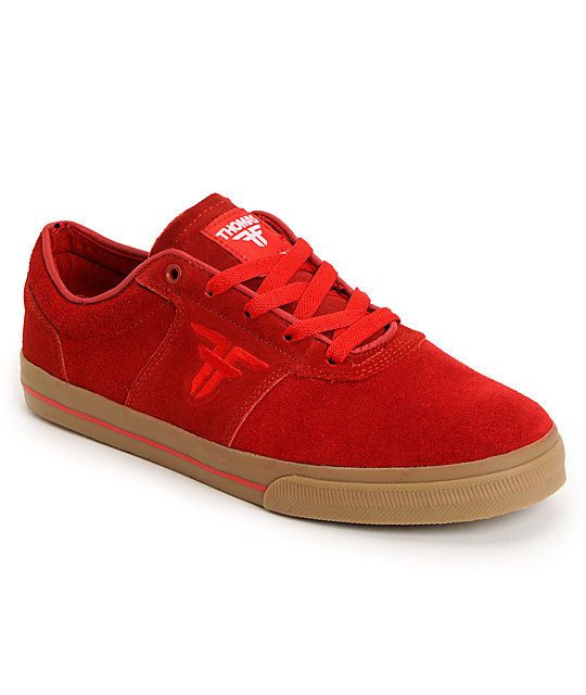 Fallen Victory Red & Gum Suede Skate Shoes