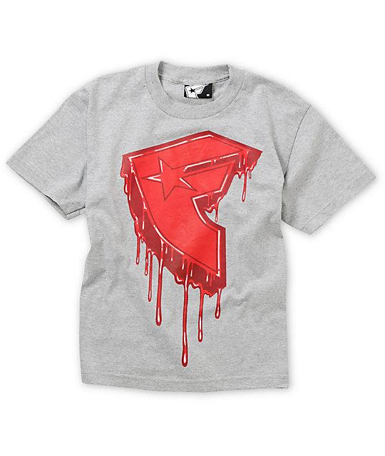 Famous Stars & Straps Boys Drips Grey T-Shirt