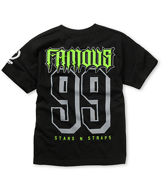 Famous Stars & Straps Boys Rally Fam Black & Lime T-Shirt