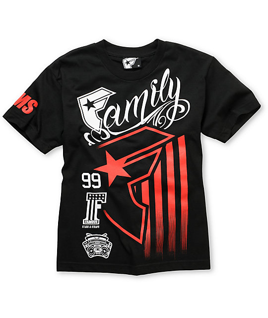 Famous Stars & Straps Boys Stripes Rally Black T-Shirt