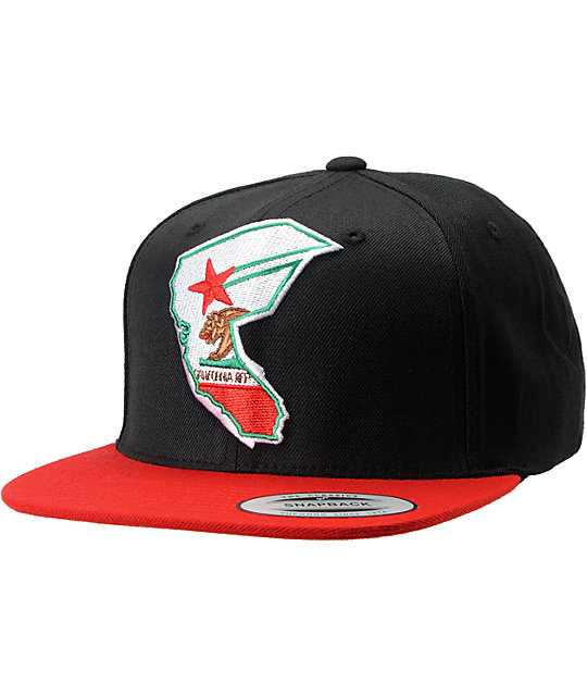 Famous Stars & Straps Cali Reppin Black & Red Snapback Hat