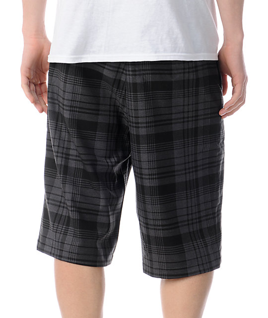 Famous Stars & Straps Crossing Line Grey Plaid Shorts