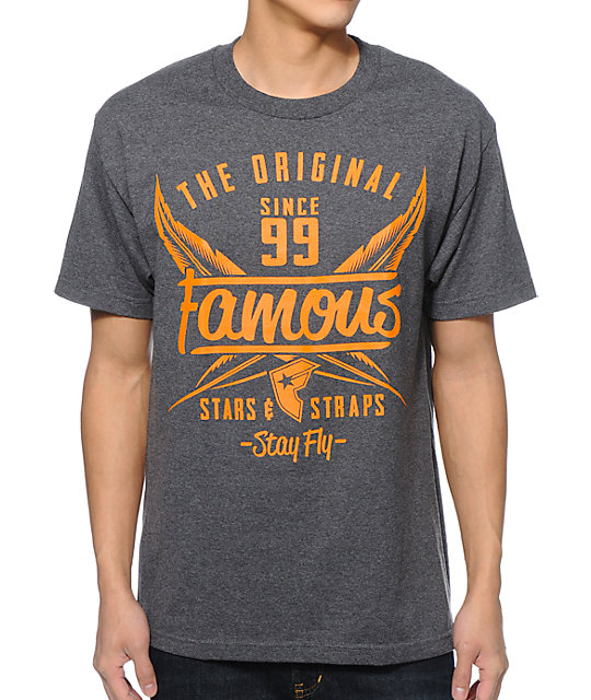 Famous Stars & Straps Flight Charcoal T-Shirt