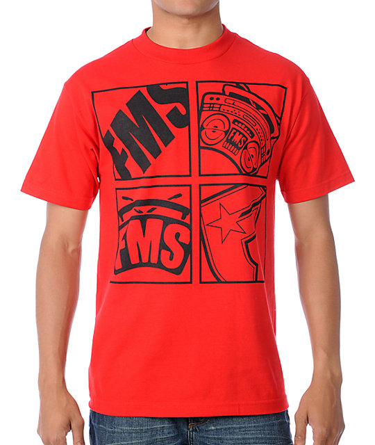 Famous Stars & Straps Four Up Red T-Shirt