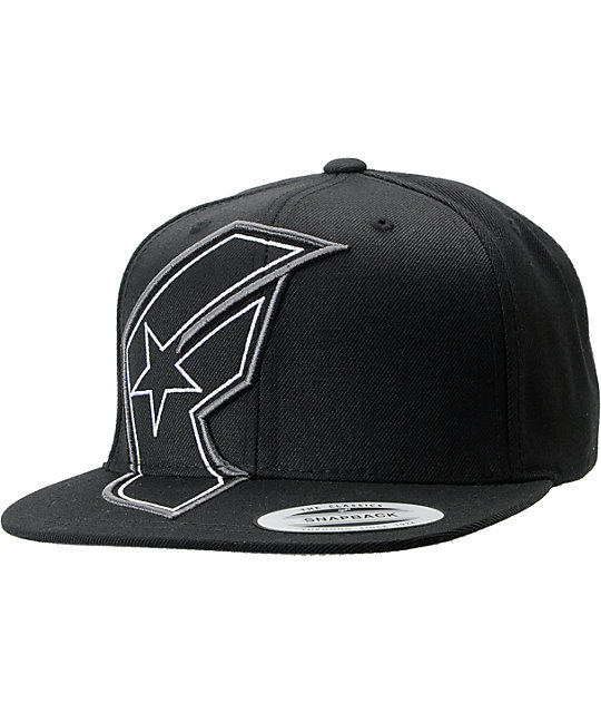 Famous Stars & Straps Giant Badge Black Snapback Hat