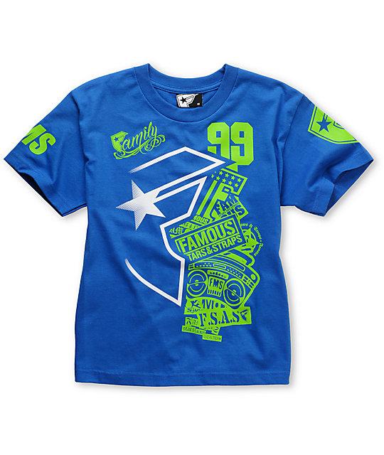 Famous Stars & Straps Logo Blast Boys Blue T-Shirt