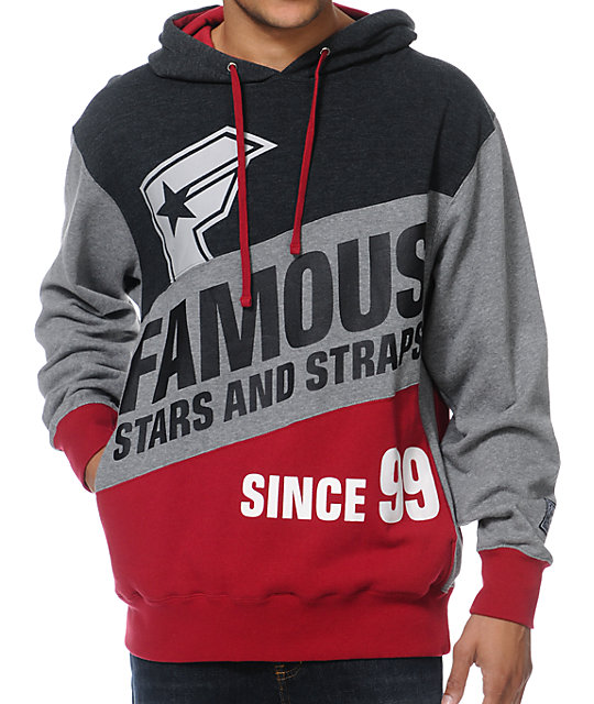 Famous Stars & Straps Statement Grey & Red Pullover Hoodie