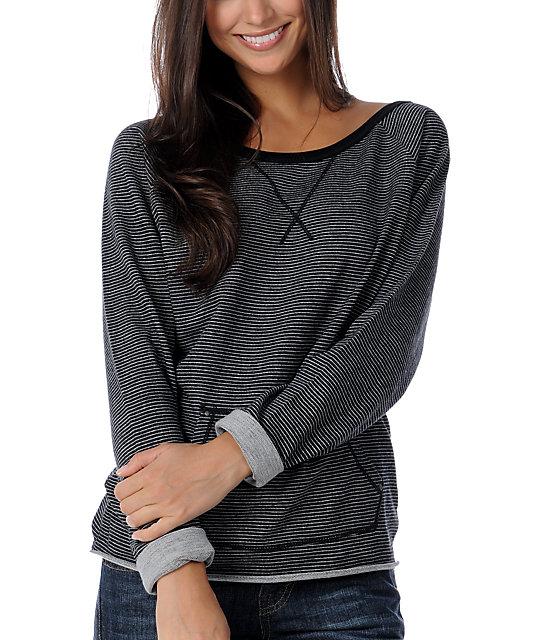 Fatal Charm Flechette Black & White Stripe Sweatshirt