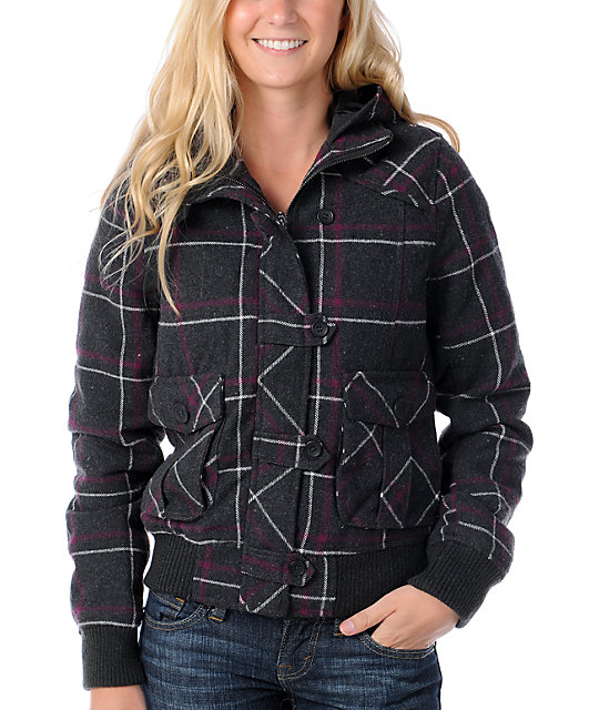 Fatal Charm Imperial Charcoal & Purple Plaid Hooded Bomber Jacket