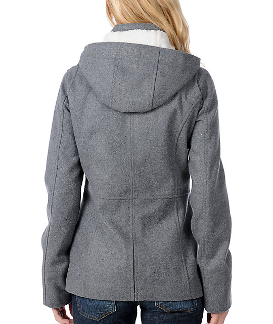Fatal Charm Legacy Grey Wool Hooded Pea Coat