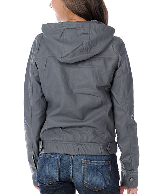 Fatal Charm Marne Charcoal Faux Leather Hooded Jacket