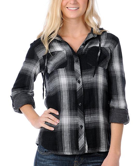 Fatal Charm Persona Black Plaid Hooded Flannel Shirt
