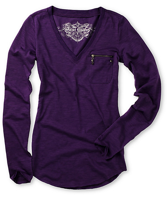 Fatal Charm Solo Purple Slub Long Sleeve T-Shirt