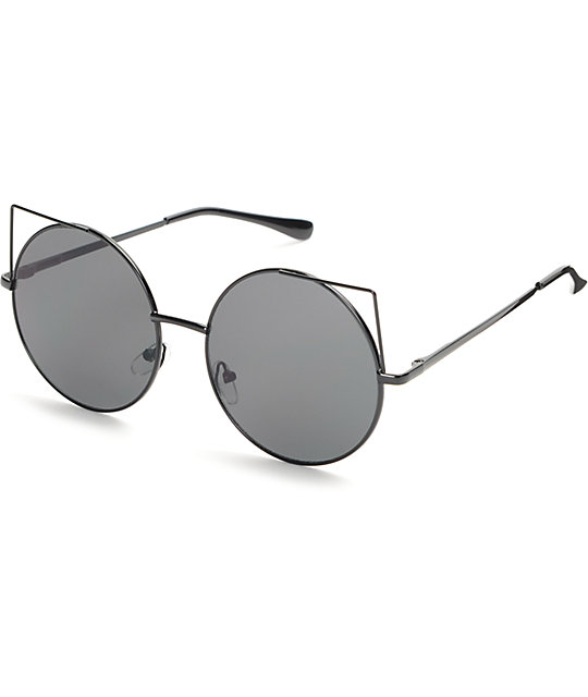 aviator round sunglasses  Flat Cat Black Round Sunglasses at Zumiez : PDP