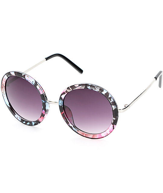 Flip Me Out Floral Round Sunglasses