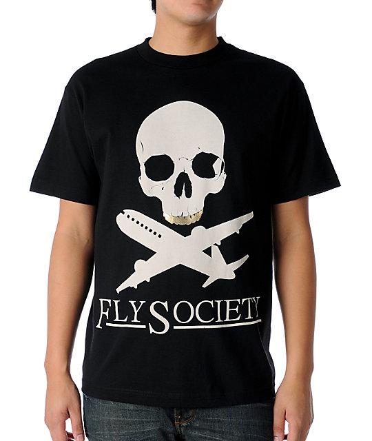 Fly Society Planes & Bones Black T-Shirt