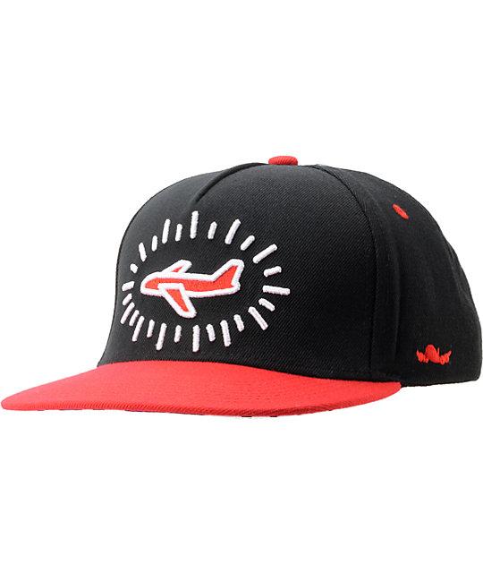 Fly Society Pop Black & Red Snapback Hat