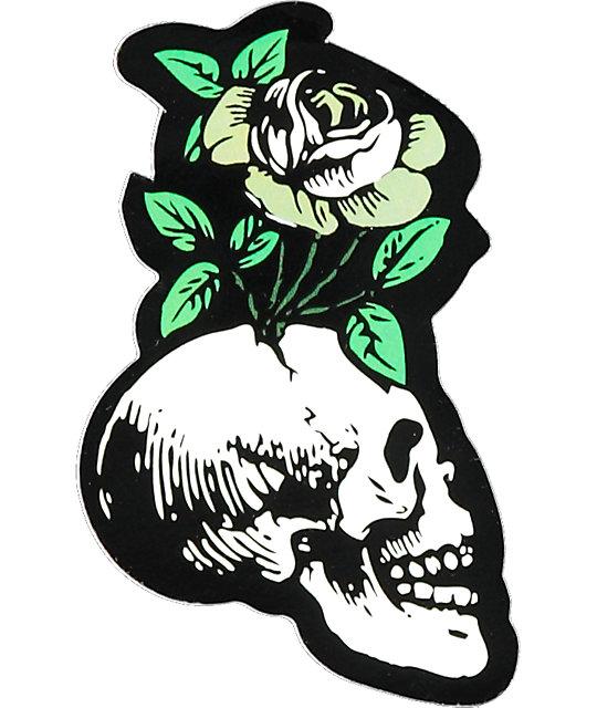 Flying Coffin Skull Flower Sticker