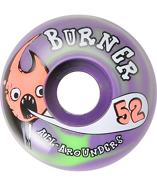 Form Burner 52mm Green & Purple Swirl Skateboard Wheels