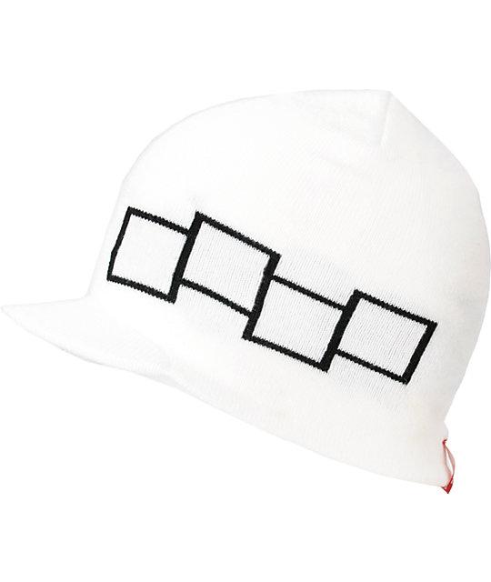Four Square Icon White Visor Beanie