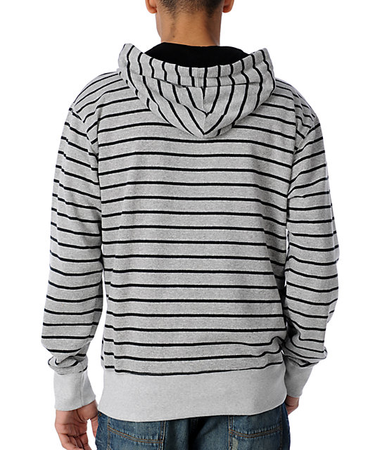 Fox 4Lan French Terry Grey Striped Zip Up Hoodie