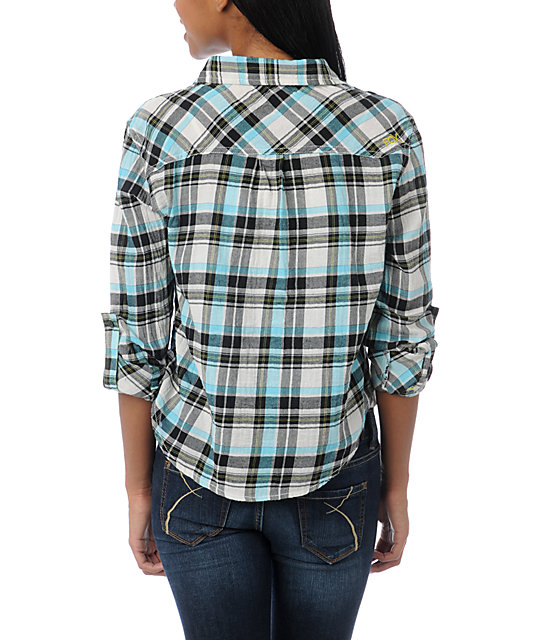 Fox After School White & Blue Plaid Shirt