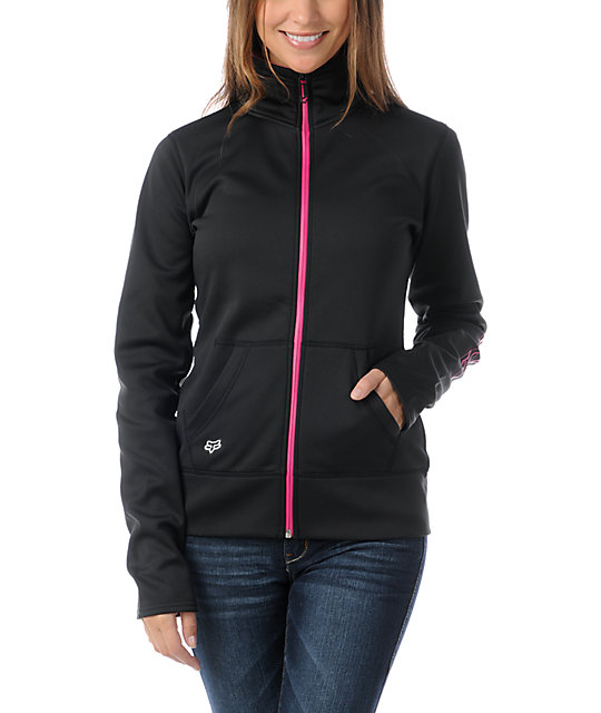 Fox Ambition Black & Pink Full Zip Tech Fleece Jacket