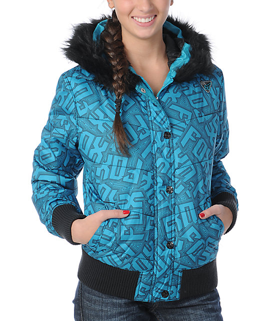 Fox Austen Blue Graphic Print Puffy Jacket