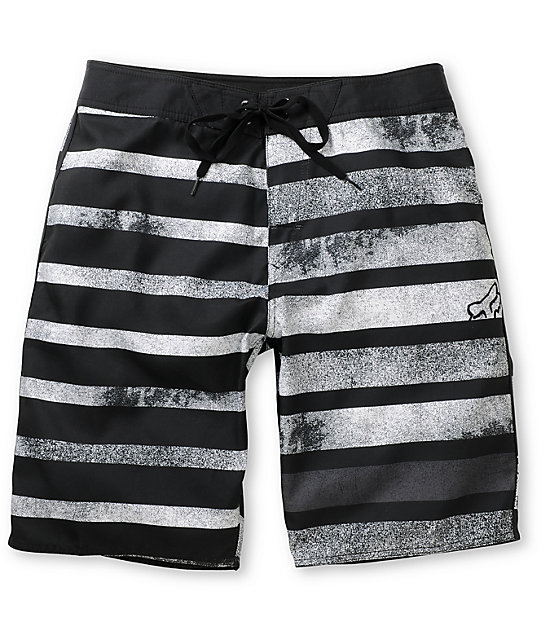 Fox Basis White & Black Striped Board Shorts