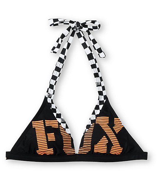 Fox Blitz Black & Orange Halter Bikini Top