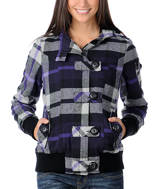 Fox Bossa Nova Purple Plaid Bomber Jacket