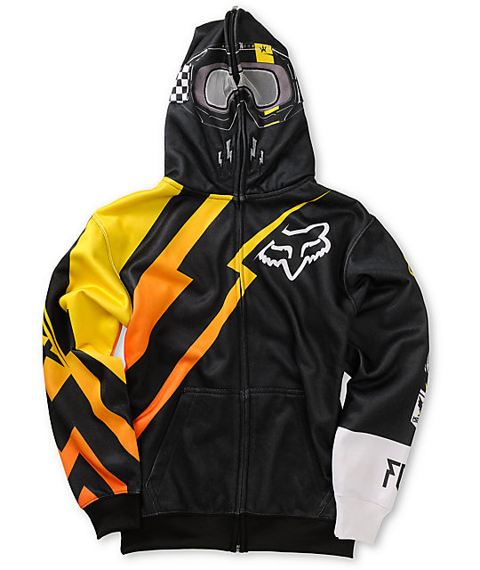 Fox Boys Looney Black Full Zip Face Mask Hoodie