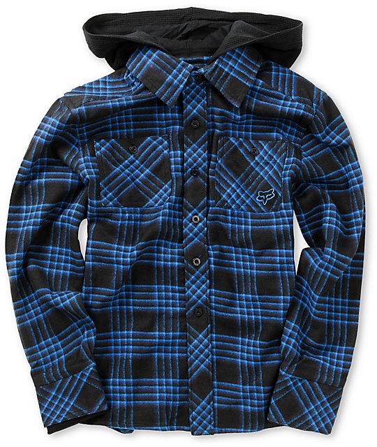 Fox Boys Radcliff Black & Blue Hooded Flannel Shirt
