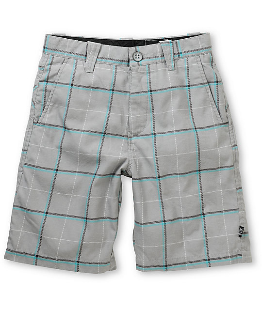 Fox Boys Rebirth Grey & Teal Plaid Shorts