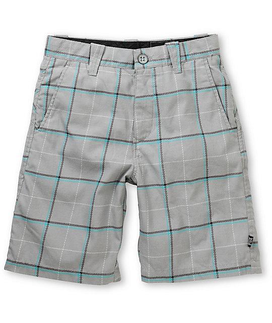 Fox Boys Rebirth Grey & Teal Plaid Shorts