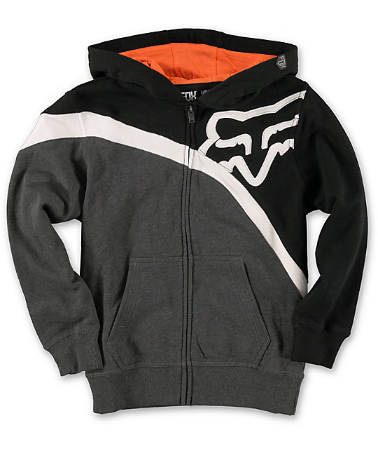 Fox Boys Riktor Black Amp Orange Zip Up Hoodie At Zumiez Pdp