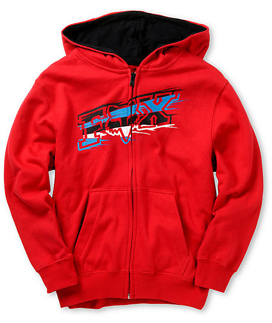Fox Boys Shapstreak Red Zip Up Hoodie
