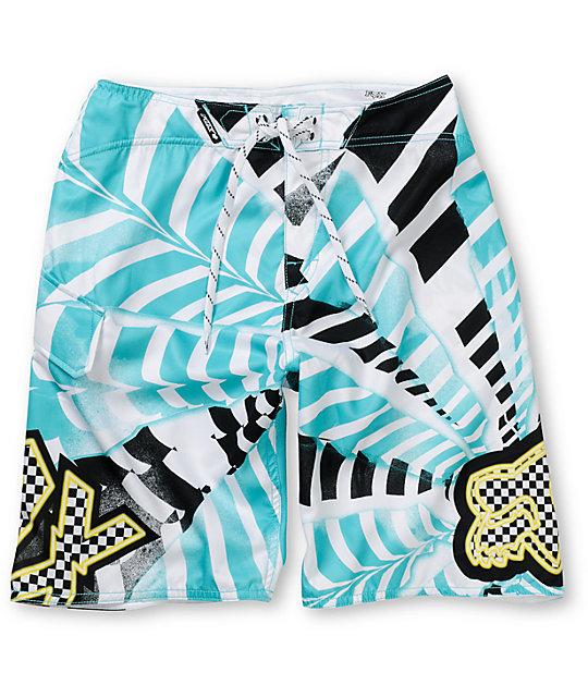 Fox Boys Shattered White & Blue 20 Board Shorts
