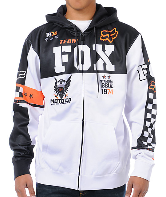 Fox Covert White Zip Up Hoodie