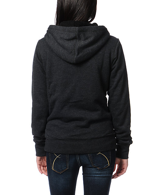 Fox Drift Charcoal Sherpa Fleece Hoodie