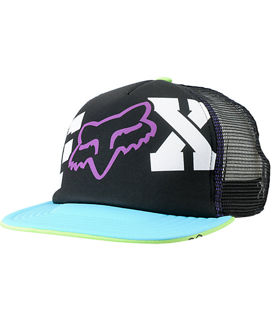 Fox Endless Black Purple & Turquoise Snapback Trucker Hat