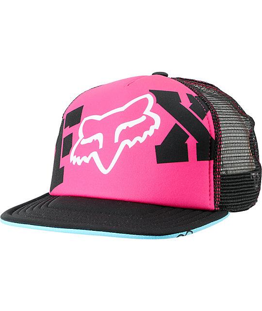 Fox Endless Pink & Black Snapback Trucker Hat