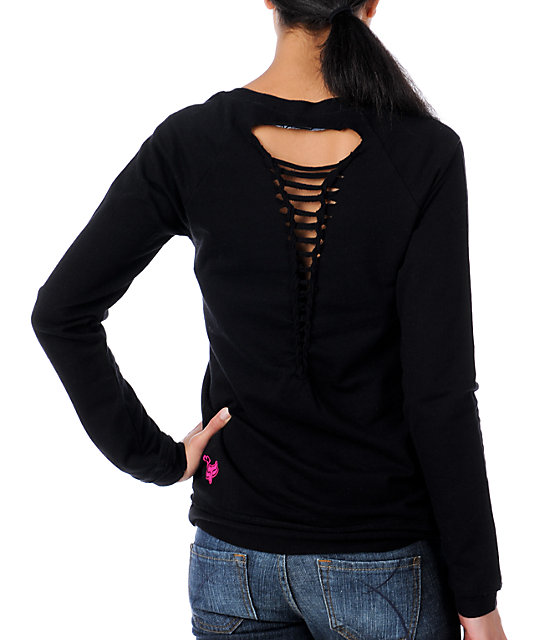 Fox Forever Young Twisted Back Black Pullover Sweatshirt
