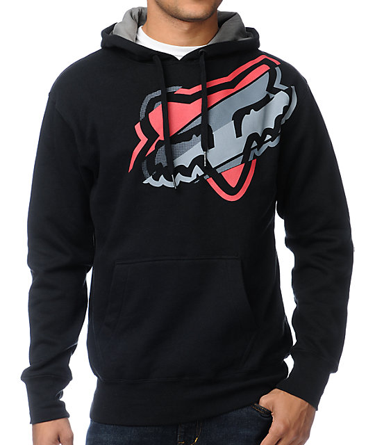 Fox Hashed Black Pullover Hoodie